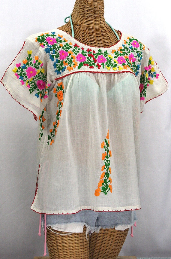 splitsleeve mexican peasant top blouse hand by sirenology