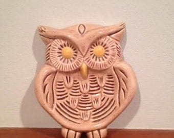 Pretty 1960s Owl Wall Hanging