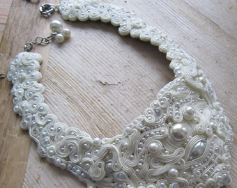 Whipped Cream. Bridal soutache necklace. Vegan friendly.