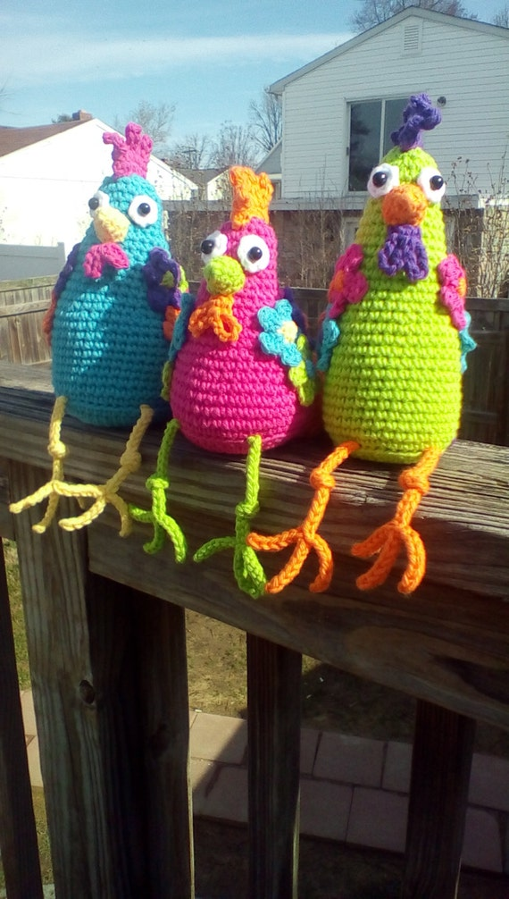 Advanced Amigurumi Shapes : Funky Chicken Trio Crochet Amigurumi Pattern PDF