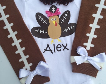 BABY girl  Thanksgiving Outfit - football turkey outfit - football legwarmers - baby girl photo prop - fall baby outfit- Girls thanksgiving