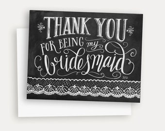Thank You For Being My Bridesmaid Card - Hand Lettered Card - Chalk Art Bridesmaid Card - Chalkboard Art