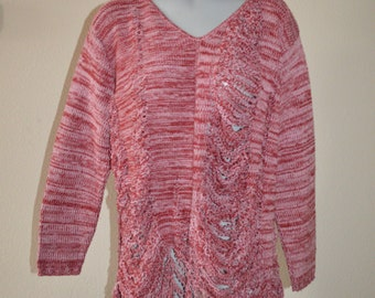 Revamped Maroon / Light Pink Sweater M
