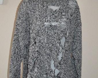 Revamped Black / White / Grey Shredded Sweater XL