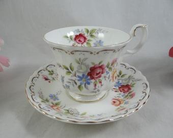 "Vintage Royal Albert English Bone China  ""Jubilee Rose"" Teacup and Saucer set - Delightful English Teacup"