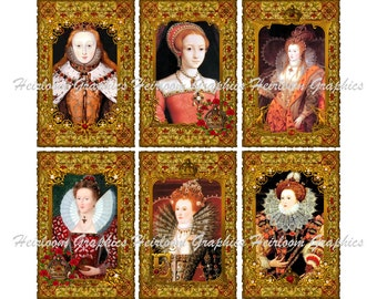 6 Queen Elizabeth I Medieval Digital Downloads Medieval Tags Tudor Dynasty Tags For Scrapbooks, Gift Tags, Cards etc.