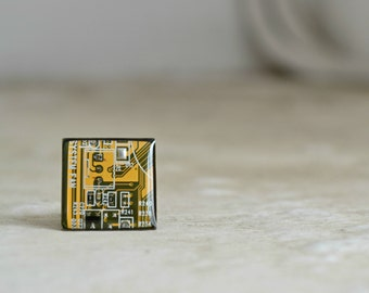 Circuit Board Ring - Electronic Industrial Computer Jewelry -  Yellow Geometric square Geekery Ring