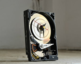 Geekery Clock - Hard Drive Clock - Modern - Decor and Housewares - Desk Clock - Recycled Computer Clock - Home and Living - Black White