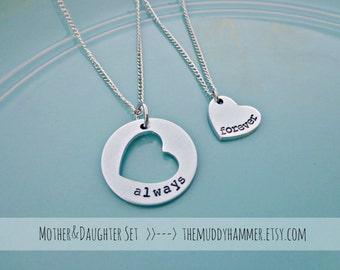 Mothers Day - Personalized Hand Stamped Mother Daughter Necklace