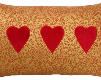 Red Velvet and Gold Brocade Heart Decorative Pillow - 12 x 19 inches Breakfast Size Pillow