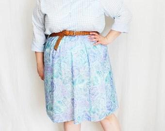 Plus Size - Vintage Pastel Floral A-Line Skirt (Size 18)