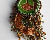 Helen's Ginkgo, OOAK, bead embroidered and bead woven brooch