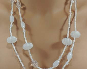 Vintage Glass and Lucite Necklace Flapper length