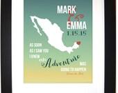 Cancun Mexico Wedding Honeymoon Keepsake: Traveling Couple Custom Anniversary Gift for An Adventure Wall Art Any Vacation Location Map Art