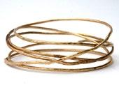 Gold Hammered Stack of Bangles Bracelet, Brass Bangles