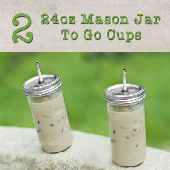 Set of 2 Hard to Find Large 24oz Mason Jar To Go Cup With Stainless Steel Straw Fits in Cup Holders Eco Friendly