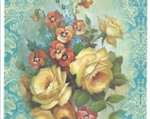 Roses yellow flowers blank note card by River Spring damask blue sympathy thinking of you hello stationery antique style vintage shabby chic