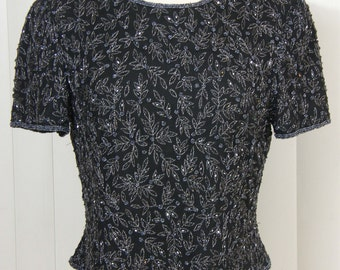 Stunning silver and black beaded silk blouse by Papell Boutique Evening -New Years