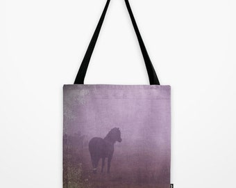 Purple tote bag, horse bag, photo bag, tote bag, lilac, mauve, lavender, shopping bag, equine photo