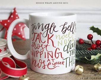 Christmas Coffee Mug, Printable Wisdom Ceramic mug, coffee subway art mug, Christmas mug, unique coffee mug gift, hand lettered calligraphy
