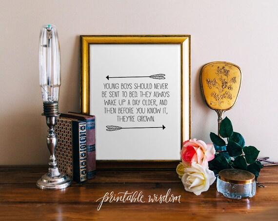 Boy Nursery Quote Print, arrow printable wall art decor, inpirational children boys Quotes - digital typography JPEG PDF Printable Wisdom