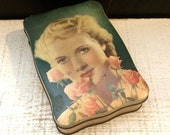 Glamour Girl, Movie Star, 1940s, Vintage Candy Tin, Antique Tin Box, Pin Up Girl, Pink Roses, Thorne's, English Box, Gardening Gift, Flower