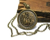 "Romantic Necklace, Antique Jewelry Gift, Love Button Keepsake, Sir Walter Scott, Gift for Writer, Edwardian Lovers - ""Pledge of Love"""