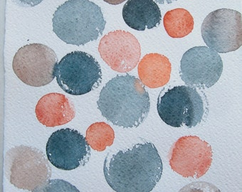 Watercolor painting original Coral grey dots painted by watercolors. Abstract painting. Home decor. Small watercolors 7,5 by 11""