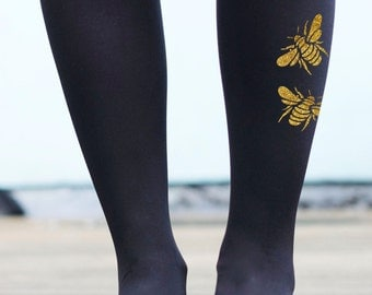 Gold or Silver Bee Tights - Printed Insect Tights