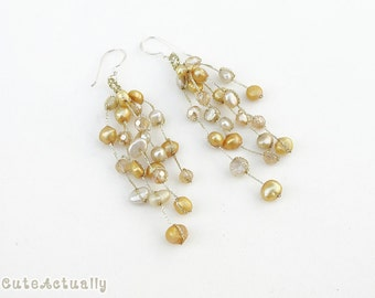 Gold freshwater pearl earrings with crystal on silk thread, sterling silver ear wires, dangle, golden, yellow