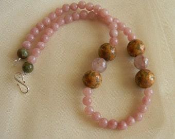 Rose quartz necklace w scrimshaw antler bead charms , beaded jewelry , quartz jewelry , antler jewelry , rose quartz necklace , scrimshaw