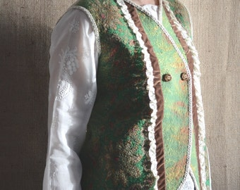 Boho style fashion wool felted vest (with antique lace ,buttons and velvet ribbons) OOAK - ready to ship