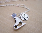 Ice Skating Skate Charm Swarovski Birthstone Initial Personalized Sterling Silver Necklace / Gift for Her