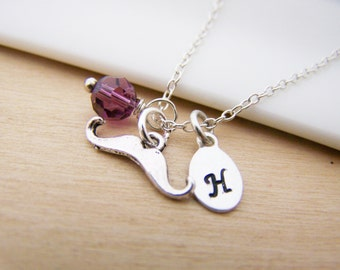 Tiny Mustache Charm Swarovski Birthstone Initial Personalized Sterling Silver Necklace / Gift for Her
