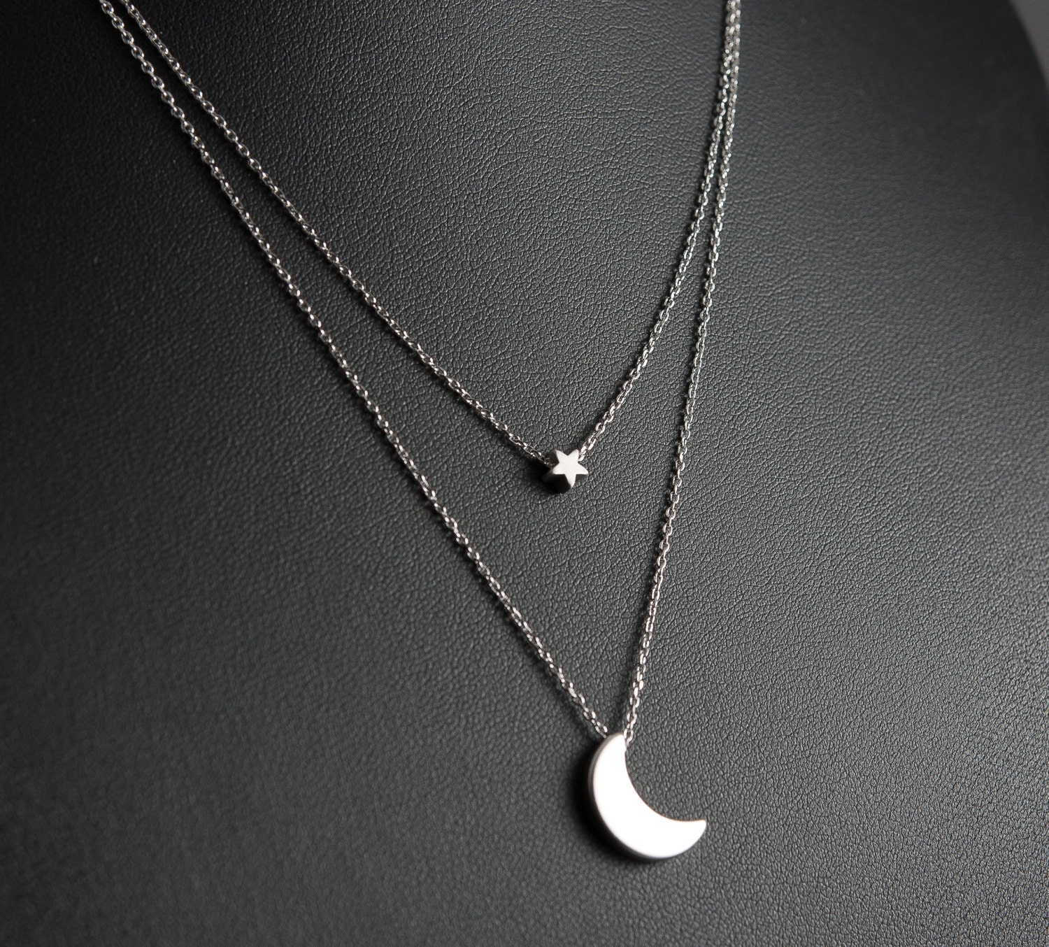 Silver Moon And Star Layered Necklace Dainty Necklace