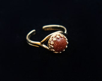 Red Gold Stone Mars Ring
