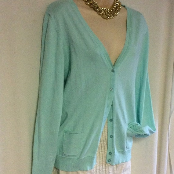 Cute mint Benetton classic cardigan aqua M/L by SunInPisces17