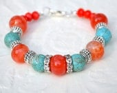 Turquoise Orange Agate Bracelet - Southwestern - Chunky- Gypsy- TexMex  - Cowgirl - Country Girl- Gift For Her- Rustic Bracelet
