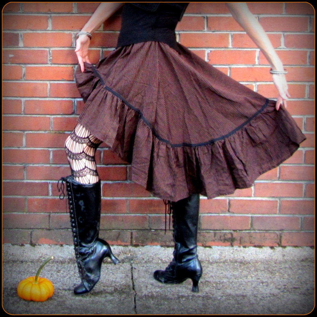 Brown Steampunk Skirt ~ Pirate Stripes ~ Victorian Bustle ~ Dickens Fair Renaissance Costume Cosplay Wench Garb ~ fits S to XL steampunk buy now online