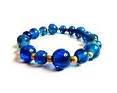 50% Discount SALE - Czech Blue Glass and Bronze Bead Stretch Bracelet - Handmade Jewellery