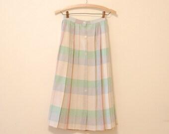 Pastel Plaid Wool Skirt - 1980s