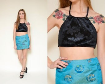 90s VELVET BURNOUT daisy printed halter crop top // black floral patterned flower power retro mod 60's ditsy grunge tiny swimsuit tank top