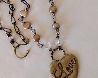 LOVE Pendant Pearls Vintage Crystals Handmade Brass Artisan Jewelry by WinterPearlsDesigns Winter Pearls Designs