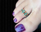 Stacking Toe Rings, Stacking Rings, Copper Beads, Turquoise Beads, Toe Ring, Ring, Stretch Bead Toe Ring