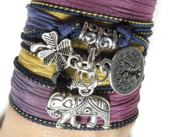 Bohemian Sacred Elephant Silk Wrap Bracelet Tree Of Life Namaste Yoga Jewelry Clover Wrist Wrap Elephant Buddhist Unique Birthday Gift