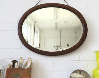 Vintage Large Oval Art Deco Bevelled Edge Wall Mirror with Wooden Frame