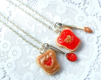 Peanut Butter And Jelly Heart Necklace Set, Strawberry Jelly, Best Friend's BFF Necklace, Choice of Surgical Stainless Steel Chains, Cute :D