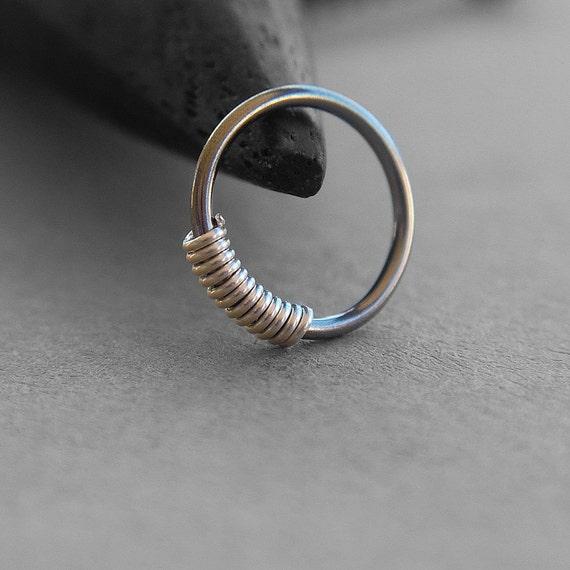 One 1 20 Gauge Niobium Nose Ring Sterling Silver Coil Dark
