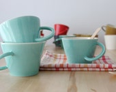 RESERVED FOR KATE - Two Mint big mug Coffee cups Ceramic teacups Breakfast mugs Original handle - ready to ship
