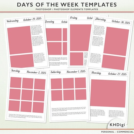 Photoshop Elements Template Days Of The Week 8.5 X